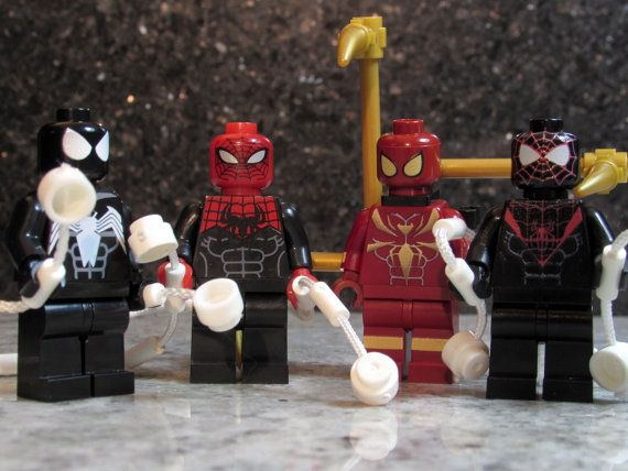 NEW! Custom SPIDER MAN Minifigures 4 Lego size Superior Ultimate Iron Spider Back in Black Special Editions Marvel inspired Super Hero Toy