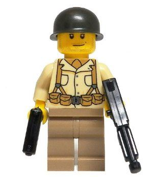 American Soldier (WWII) – miniBIGS Custom Minifigure by miniBIGS. $16.00. Includes 3 WWII Era Weapons. Limited Edition. Custom Printed Torso in the USA. This great WWII Minfigure comes with a custom printed torso on the front and the back.  The design is historically accurate to the time period but still in that great LEGO style.  The Minifigure also includes a Brickarms M1 Pot Helmet, M1911, M1A1, and a Bazooka.