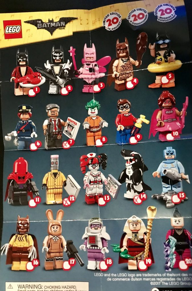 Lego Minifigures Batman Movie series- I have numbers 12, 16 & 20 – not bothered …