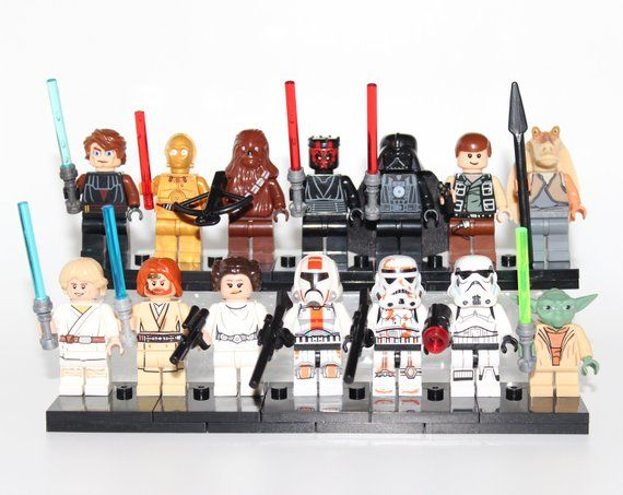 Set of 14 Star Wars minifigure toys. Individually, fully assembled by hand and s…