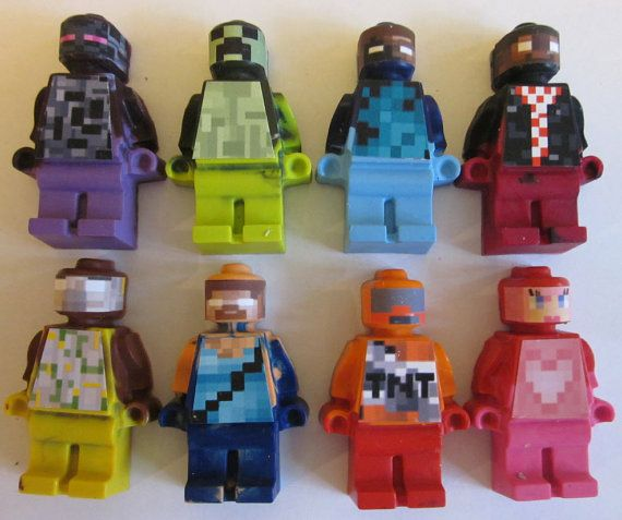 Mini figure Crayons Steve, TNT, Green Zombie, Overworld inspired Crayons Favors – 24/set Can be Personalized