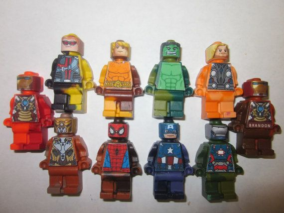 Party Favor Crayons Superheroes Mini figure Crayons – Super heros – 24/set Can be Personalized