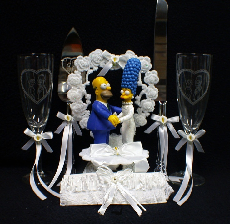 OB Homer Marge Simpsons wedding Cake topper LOT Glasses knife server set garter