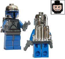 Lego Star Wars JANGO FETT Custom Minifigure Chrome Silver Helmet Rocket Booster