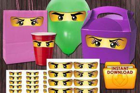 Ninjago Eyes Boy and Girl Eyes Eyelashes – 3 Sizes Birthday Party DIY PRINTABLE
