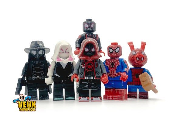 Into the spider-verse custom minifigure set of 6, Spider-Ham, Miles Morales 2 versions , Spider Girl, Spider-man Noir, Spider-Man