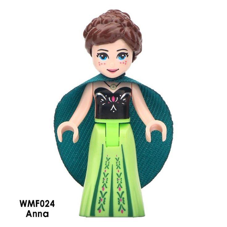 Custom Minifigure Disney Frozen Princess Anna Green Cape Light Green Dress Protector Case