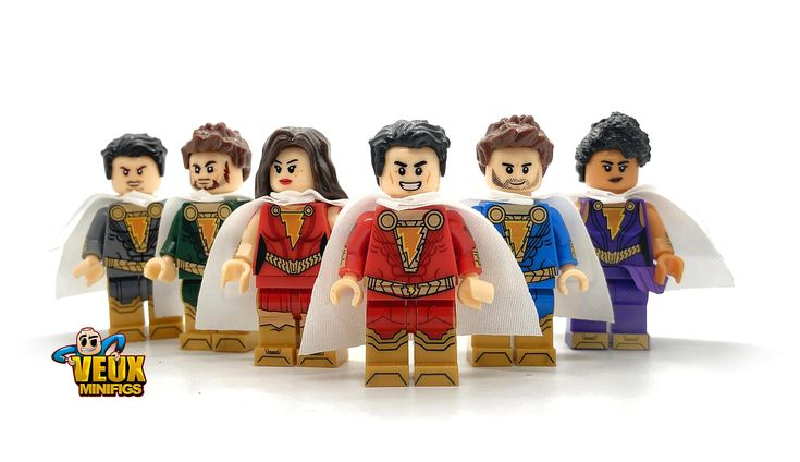 Shazam and Marvel Family custom minifigure set of 6 Billy, Mary, Freddy, Eugene, Pedro & Darla