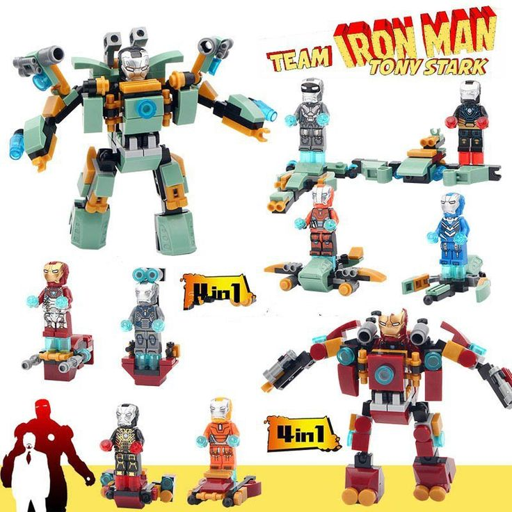 Iron Man Minifigure 8 in 1 Block Toys Avengers Superheroes Lego Minifigures Compatible Toy