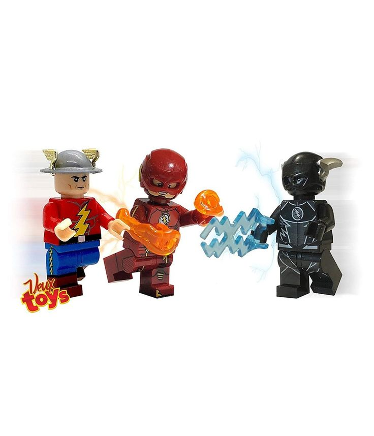 DC Comics Inspired Custom minifigures Set of 3, The Black Flash ( Zoom ) and The Flash (Barry Allen) Tv series Version and Jay Garrick