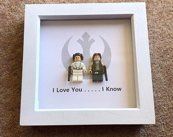 Items similar to LEGO Star Wars Framed Art – Han Solo & Princess Leia – LEGO Min…