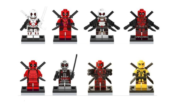 8 pack Building Blocks minifigure toy gift rare Deadpool 8 Special Edition white red yellow grey