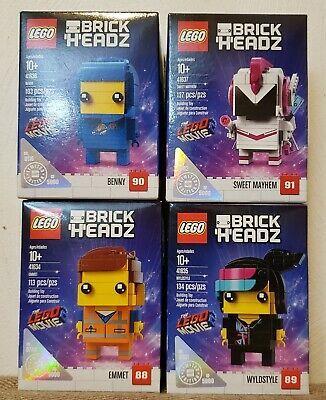 Lego Movie 2 BrickHeadz ~ 41634 Emmet 41635 Wyldstyle 41636 Benny 41637 Mayhem