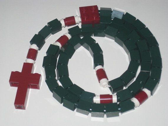 Limited Edition Dark Green and Burgandy LEGO ® Brick Catholic Rosary Baptism Gift
