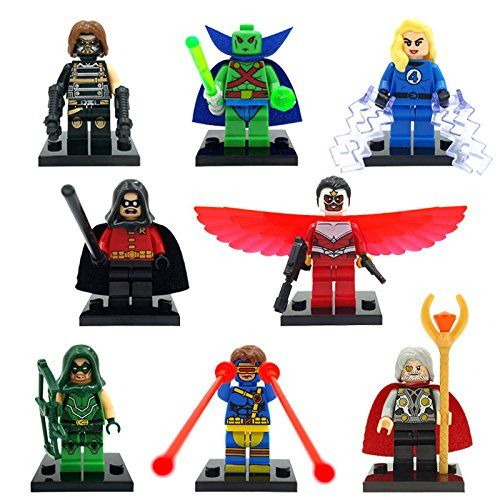 34pcs/lot Marvel DC Super Heroes Minifigures Avengers Iron Man Batman Building B…