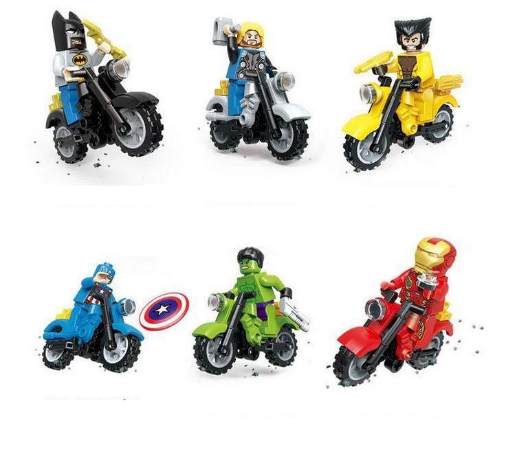 Super Heroes Thor Batman minifigures Motorcycle Lego Compatible DC minifigure