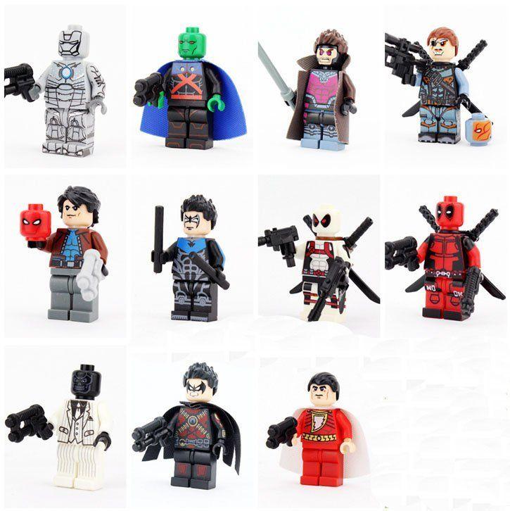 11pcs DC Super Heroes Compatible Lego Minifigures,Red Hood Deathstroke Martian Manhunter