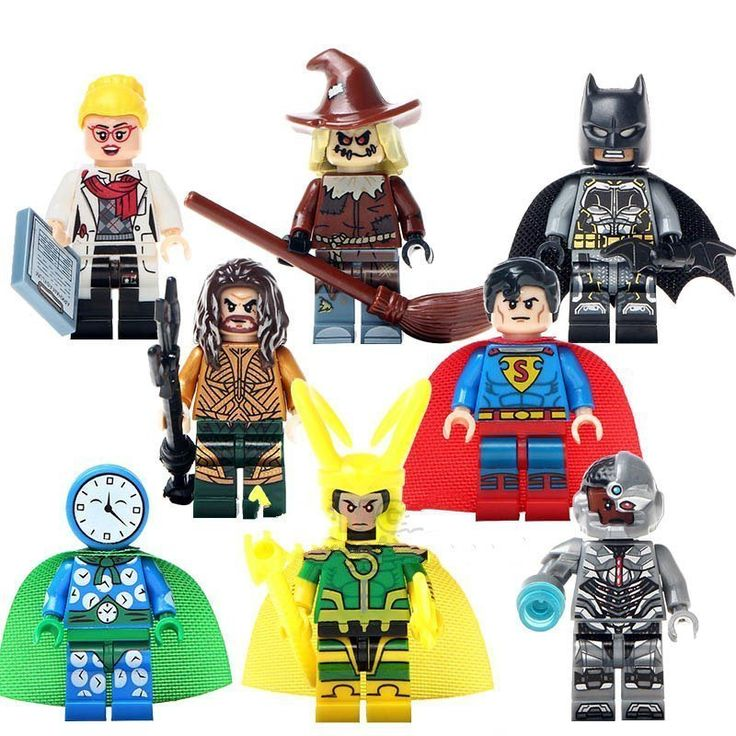 8pcs Minifigures Superman Batman Cyborg Marvel DC Super Heroes Compatible Lego