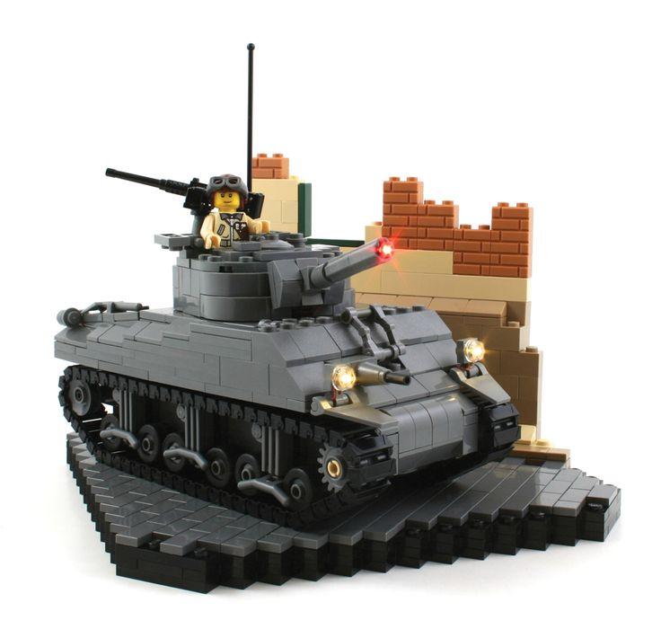 M4(105) Sherman with Brickstuff Light Effects – Allied Assault Tank – Custom LEGO Kit