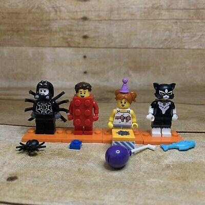 Lego Minifigures Lot Of 4 Series 18 Red Brick Guy Birthday Girl Cat Girl  | eBay