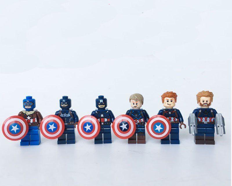 6pcs Captain America's Shield Lego Minifigures Compatible Avengers movie series