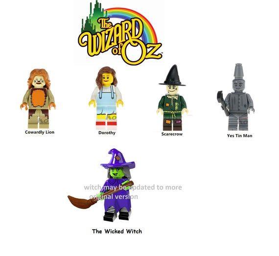 Wizard of minifigures OZ movie version Dorthy Cowardly Lion Tin Man 5 piece set limited edition