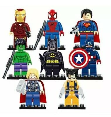 Ad – 8 Set LEGO Super Heroes Minifigures Marvel DC Batman Superman Ironman Aveng…