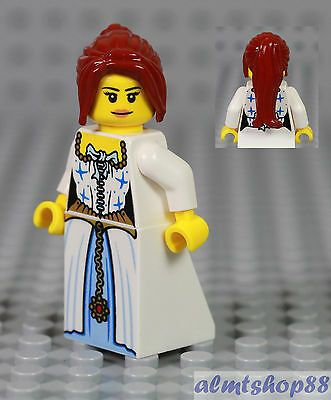 Details about LEGO – Female Minifigure White Dress & Dark Red Ponytail Hair Princess Castle