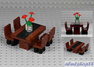 Details about LEGO – Formal Dining Table w/ 4 Chairs & Flowers Minifigure Home Room Furniture