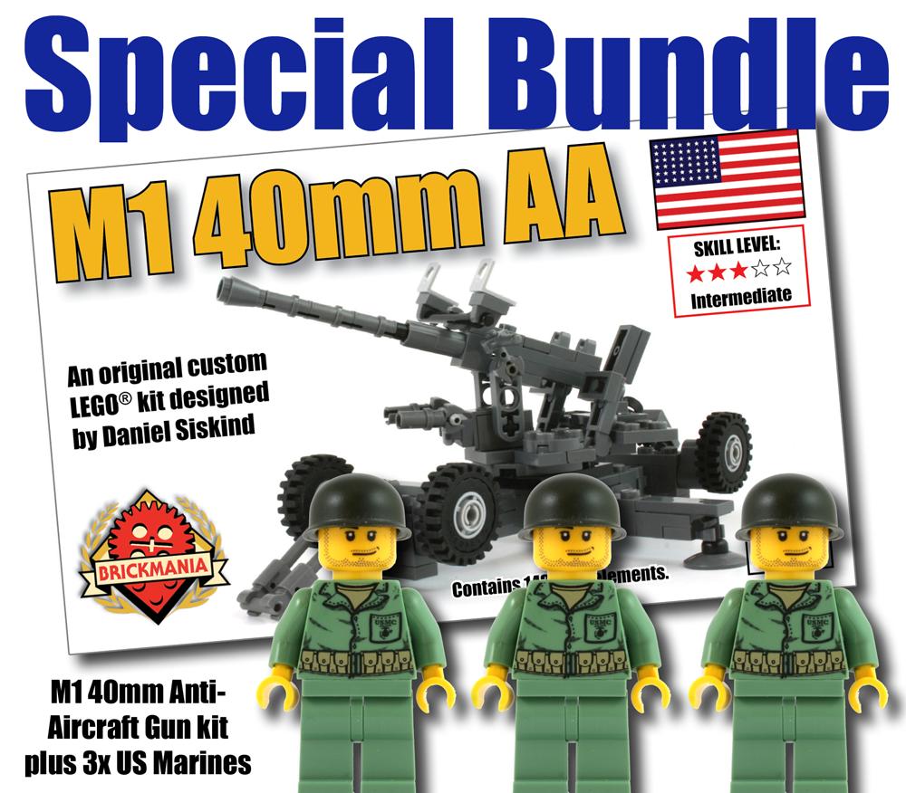 M1 40mm Anti-Aircraft Gun + 3 US Marines Bundle