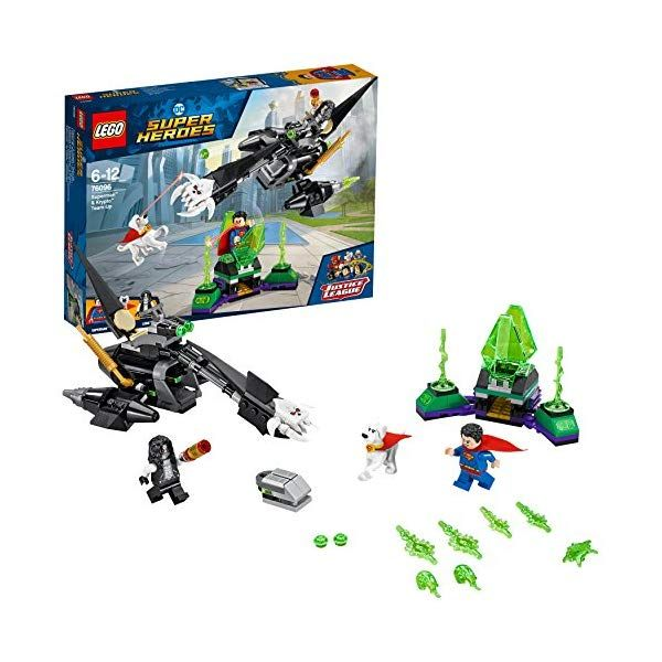 LEGO 76096 DC Comics Superman & Krypto Team-Up Playset, The Justice League, Kryptonite Prison and Bike, Superhero Toy for Kids