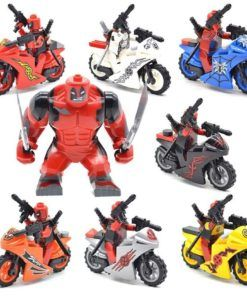 8pcs Minifigures Different Colors Deadpool with Motorcycles Marvel Super Heroes Compatible Lego