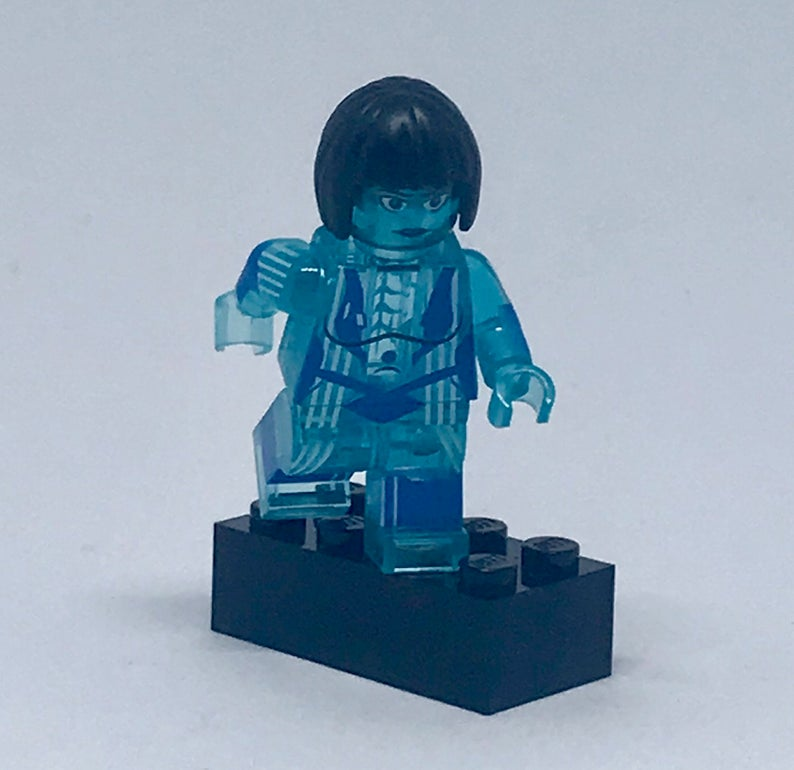 Halo Cortana: Video Game Custom Printed Minifigure Light Blue Transparent Edition + Optional Display Case *Calypso_Customs*