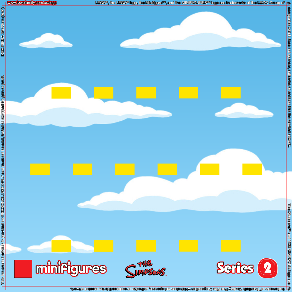 LEGO Minifigures Simpsons Series 2 Background for Ikea Ribba Frame