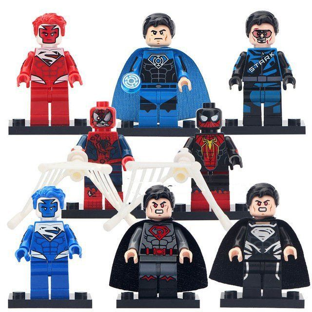 Movie Super Heroes sets Iron Man Blue Superman Zombie Minifigures Lego Compatible Toy