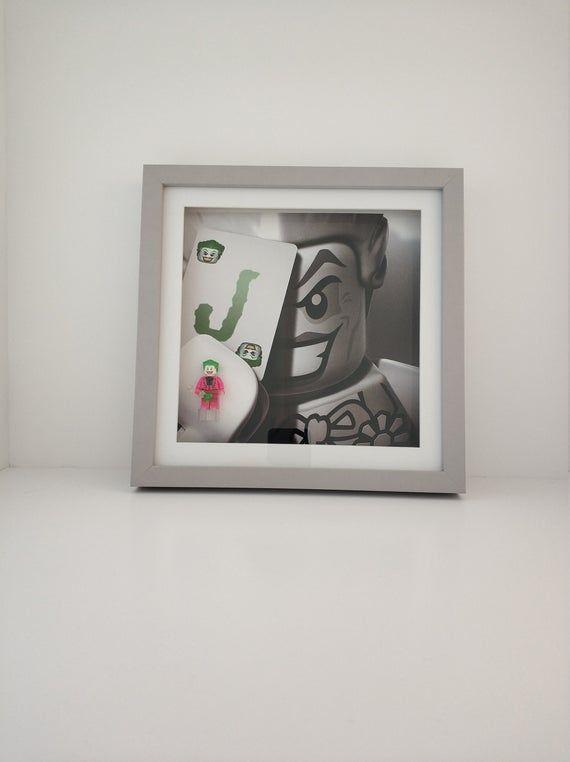Joker box frame, with custom minifigures, Birthday Dad Daddy Grandad Grandparents Father DC comics