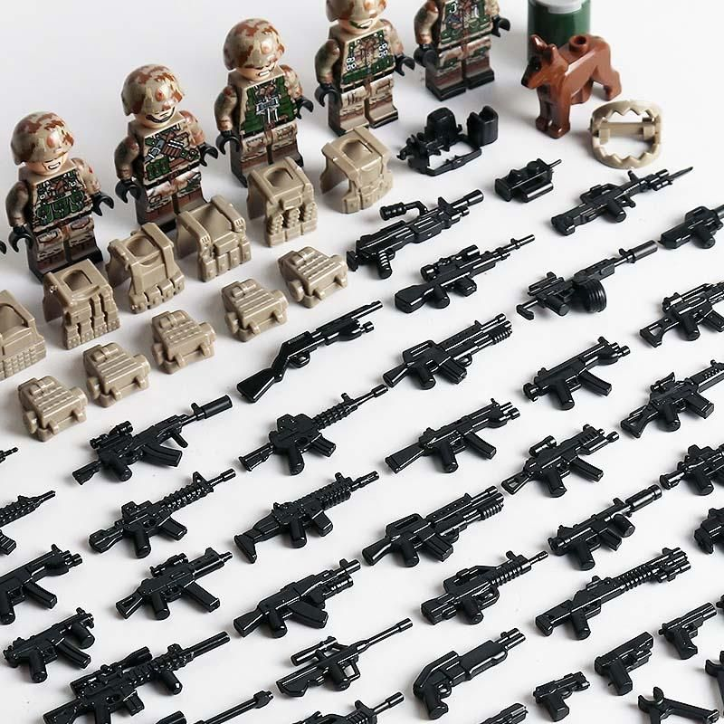 US Marines Anti Terrorist Team Minifigures 6-Pack with Dog & Weapons