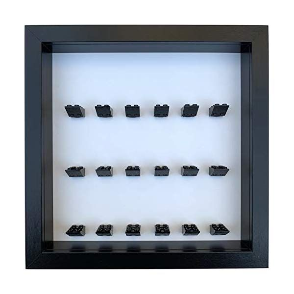 FRAMEPUNK Minifigure Display Case compatible with LEGO® Minifigures – 18 black 2×3 bricks (Black Frame)