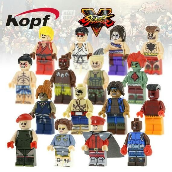 Street Fighter minifigures video game edition Ken Ryu Honda and dozens more to choose from birthday present make into keychain or magnets