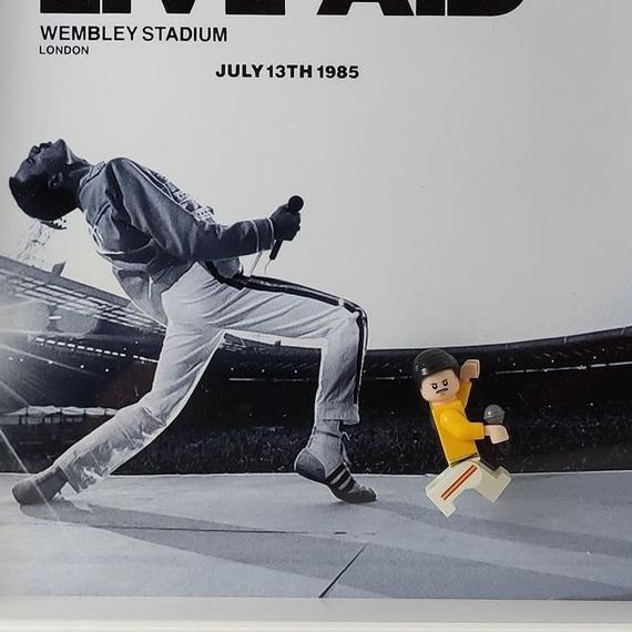 Queen Freddie Mercury, Live Aid, box frame with custom minifigure Birthday Dad Daddy Grandad Grandparents Father, .