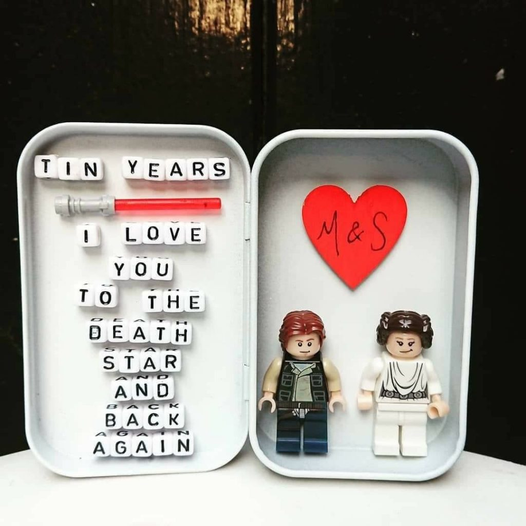 Tin Years Gift, Star Wars Minifigures, Princess Leia, Han Solo, Lego Inspired, Something Tin, Ten Year Anniversary Gift, Wedding Day Present