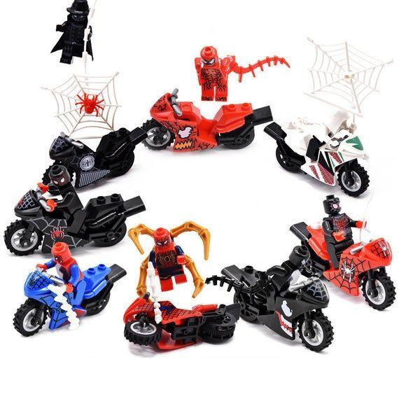 Marvel Super Heroes Spider Man Custom 8 Minifigures Motorcycle Set – 6918