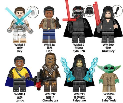 8PCS Baby Yoda and Star Wars Rise of Skywalker Minifigs