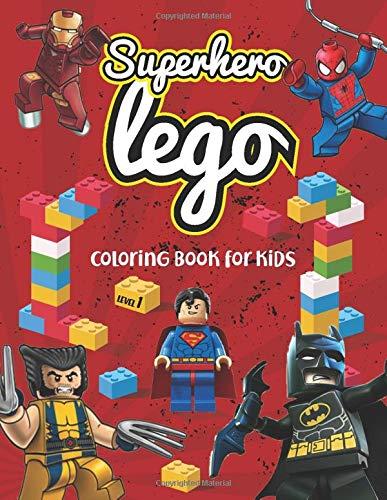 Superhero lego coloring book for kids level 1: Great lego Coloring Books for Super heroes Fan