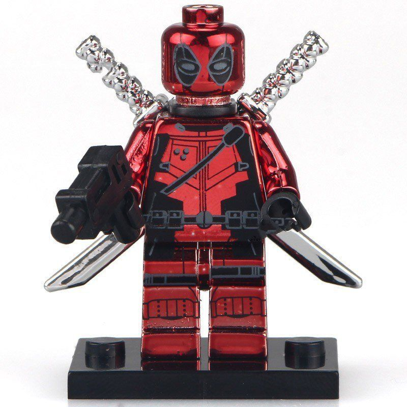 Marvel Super Heroes Red Plating Deadpool Minifigures Lego Compatible Toys
