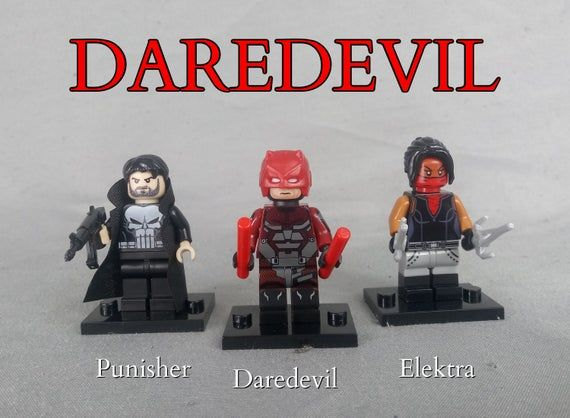 Daredevil, Set of Custom Minifigures, Works with any Building Block Set