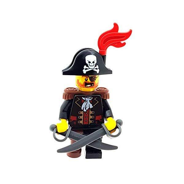 LEGO Pirate Captain Minifigure with Peg Leg Plus 2 Swords