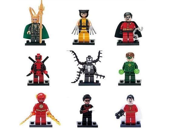 Lot of 9 Super Heroes Minifigures (Loki, Wolverine, Robin, Deadpool, Venom, Gree…