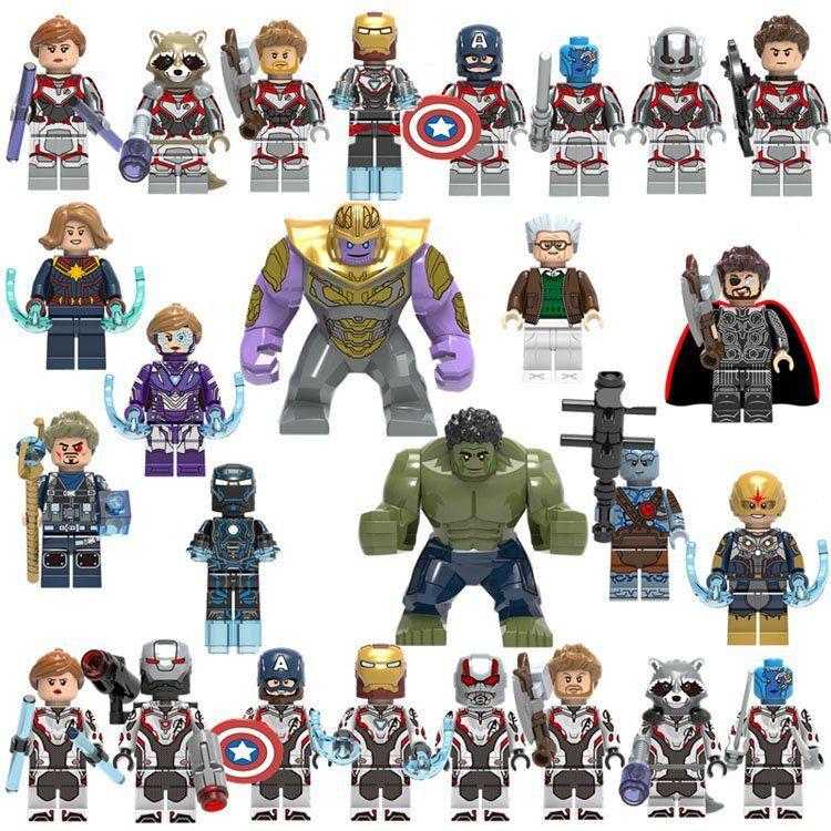 26pcs Super Heroes Thanos Nova Tony Stark Minifigures Lego Avengers Endgame 2019