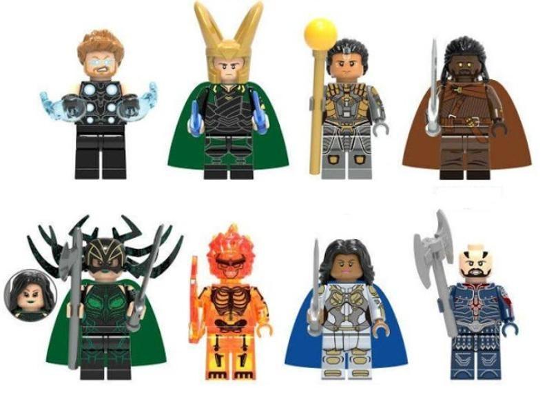 Lot of 8 Super Heroes Minifigures (Thor, Loki, Topaz, Heimdall, Hela, Surtur, Valkyrie (Valkyrie), Executor). customized